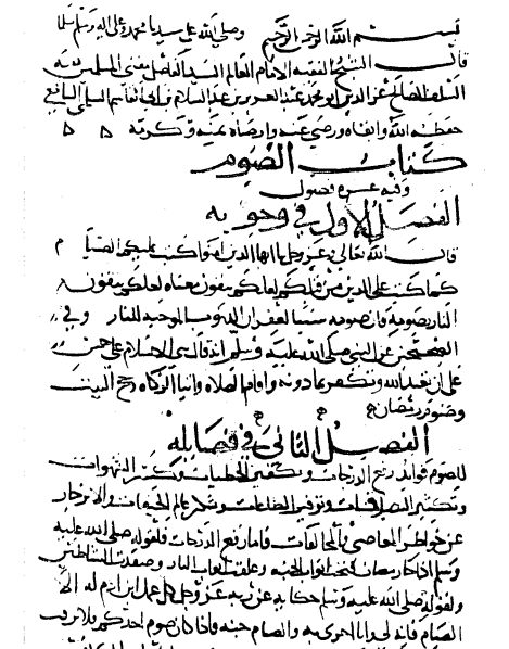 A page from the manuscript of Maqāsid al-Sawm