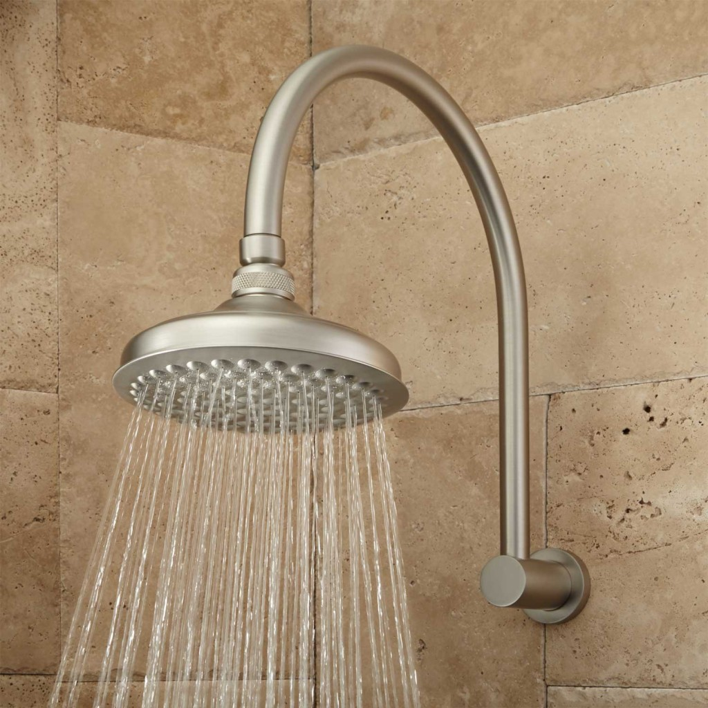 """Photo """"Roux Rainfall Shower Head with Modern Arm"""" by Signature Hardware"""